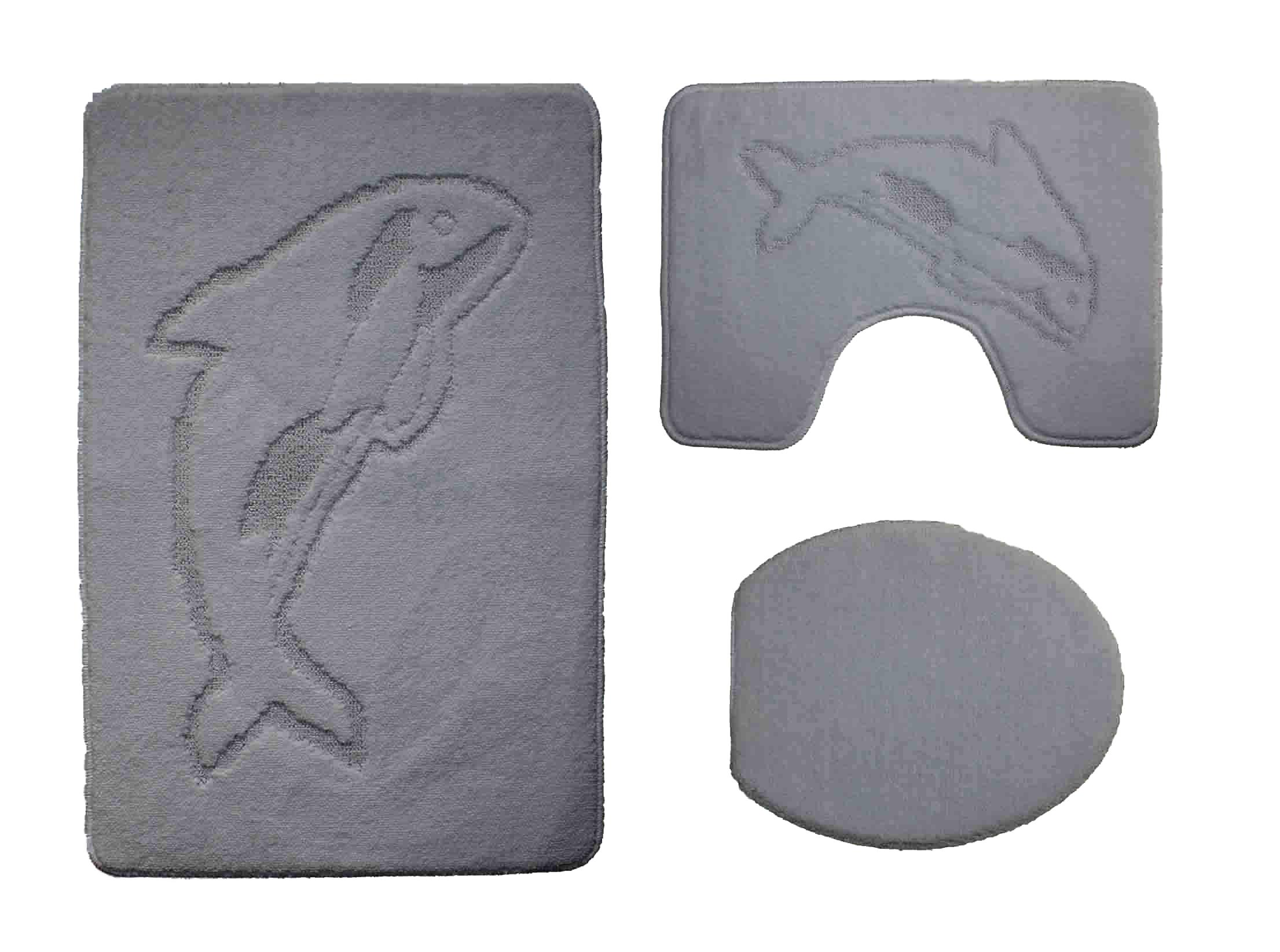 badgarnitur 3 teilig in grau badvorleger wc bezug vorleger f stand wc ebay. Black Bedroom Furniture Sets. Home Design Ideas