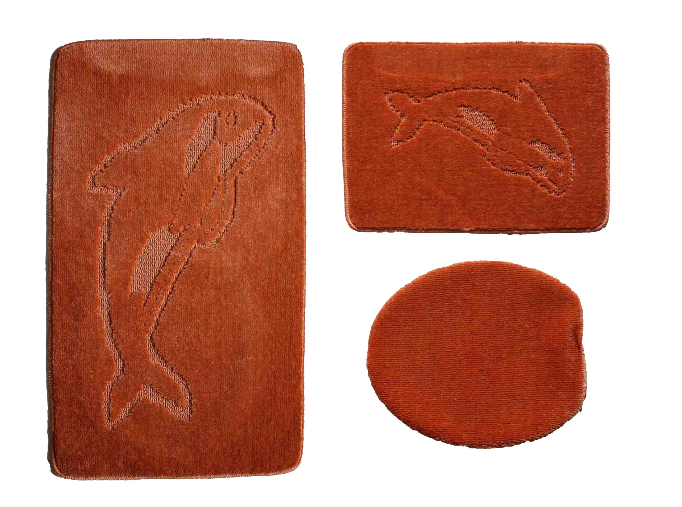 badgarnitur 3 tlg terracotta badvorleger wc bezug vorleger f h nge wc delfin ebay. Black Bedroom Furniture Sets. Home Design Ideas